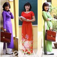 Cô giáo 'tuổi băm' xinh tươi với áo dài colorblock