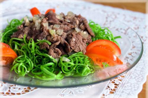 Rau muống xào thịt bò - 1