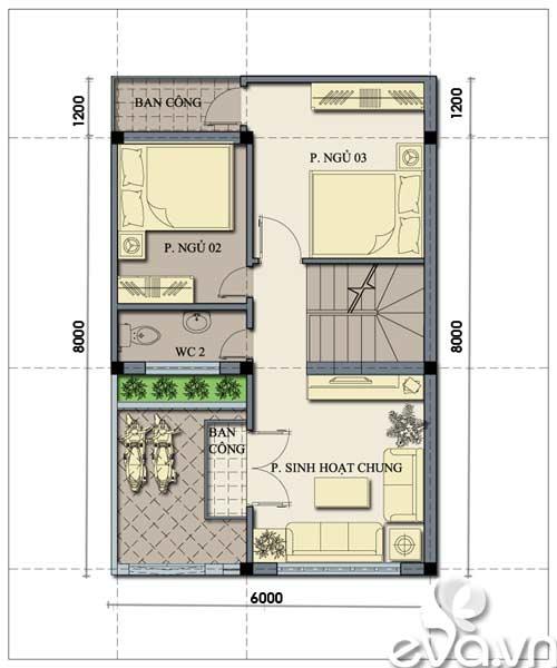 Tư vấn xây nhà 2 tầng 48m2 - 2