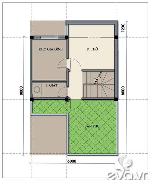 Tư vấn xây nhà 2 tầng 48m2 - 3