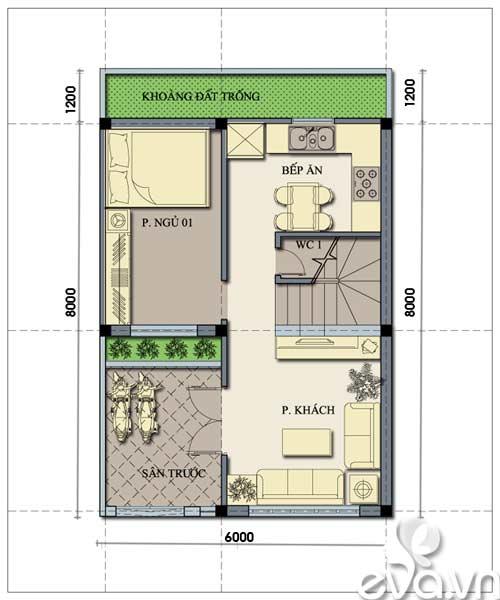Tư vấn xây nhà 2 tầng 48m2 - 1