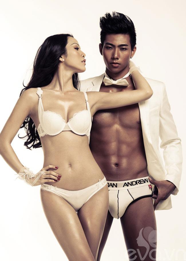 Với lợi thế về ngoại hình, Hữu Long khoe vóc dáng vạm vỡ bên cạnh chân dài Kim Cương.