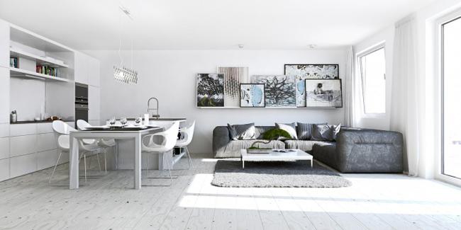 Đơn giản từ cách bài trí đến màu sắc, nhưng căn hộ này vẫn toát lên vẻ đẹp thanh thoát và sang trọng với màu trắng tinh khiết.