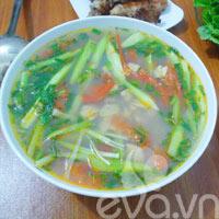 Canh ngao chua dọc mùng