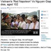Báo quốc tế trang trọng đưa tin về Tướng Giáp