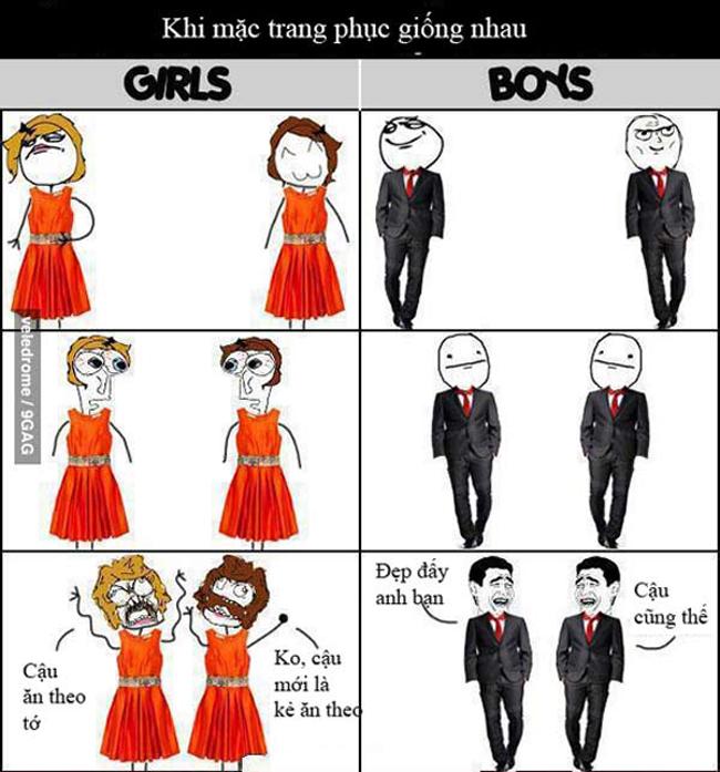 Khi phụ nữ mặc quần áo giống nhau, chắc chắn sẽ có nội chiến. Còn đàn ông mặc giống nhau, đó là một điều đáng bàn, đáng vui...
