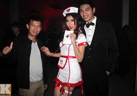 ngọc quyen làm y tá sexy trong dem halloween - 1