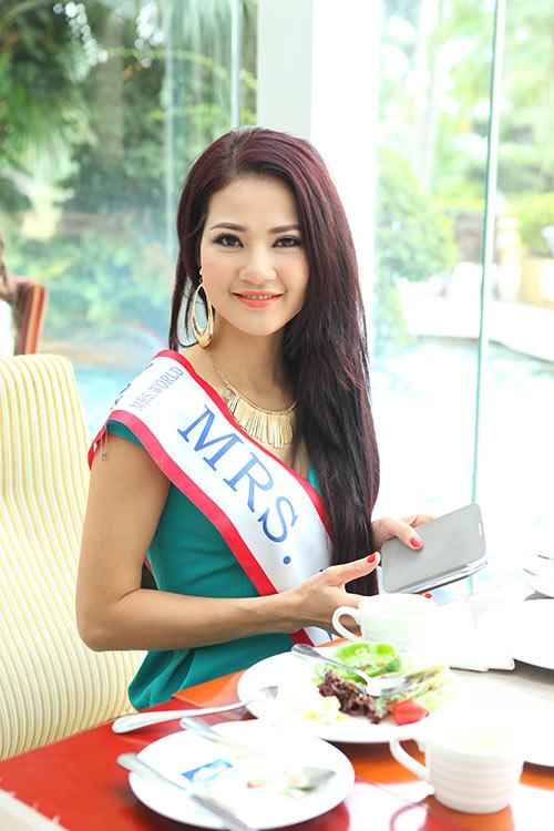 """tran thi quynh thuoc top """"gai tre"""" mrs world - 7"""