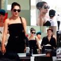 Làng sao - Lâm Chi Khanh vai trần gợi cảm tại sân bay