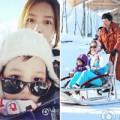 Làng sao - Con gái Triệu Vy đi trượt tuyết cùng mẹ