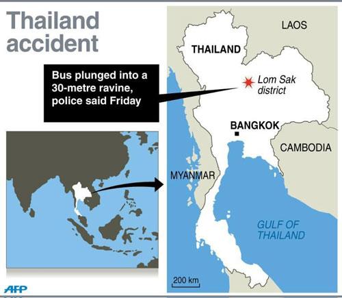 thai lan: xe buyt lao xuong vuc, 29 nguoi chet - 1