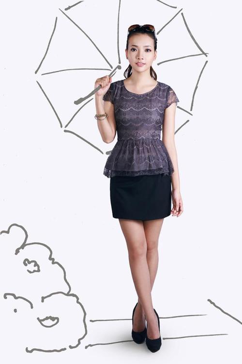 Peplum mặc cùng chân váy cho nàng công sở che khuyết điểm vòng eo