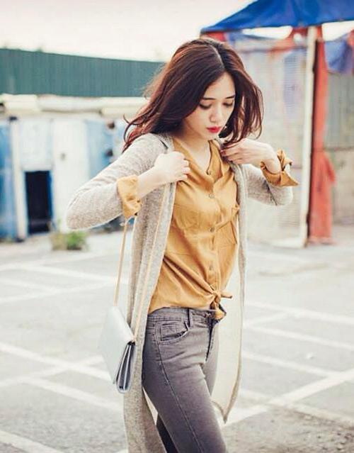 Hotgirl Việt sành điệu với áo cardigan dáng dài - 9