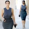 Làng sao - Kim Kardashian tươi rói bên chồng trên phố