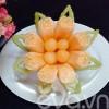 Bếp Eva - Tỉa giỏ đựng hoa quả đẹp lung linh từ dưa vàng