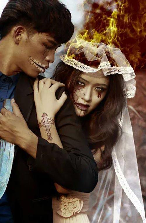 halloween: hot girl truong bao hoa co dau ma - 6