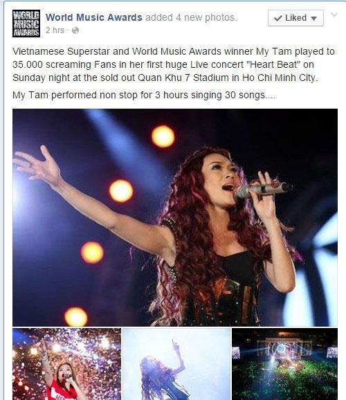 live concert cua my tam duoc fanpage giai thuong the gioi quan tam - 1