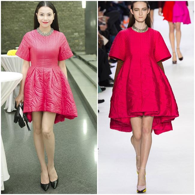 Trà Ngọc Hằng dường như là một tín đồ của thương hiệu Dior. Người đẹp thường xuyên diện những bộ váy đầm na ná với các thiết kế của thương hiệu trứ danh nước Pháp.