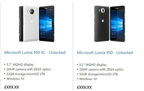 Microsoft vô tình đăng cấu hình Lumia 950 và Lumia 950 XL trên website-1