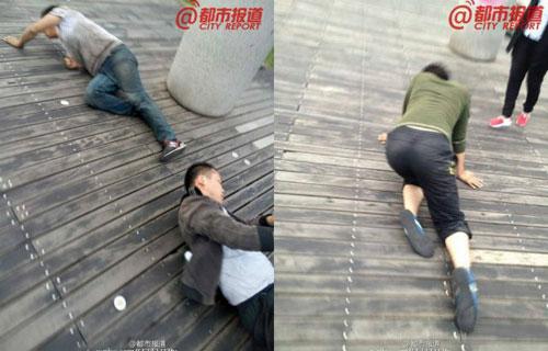 Phẫn nộ công ty TQ phạt nhân viên bò quanh hồ công cộng-1