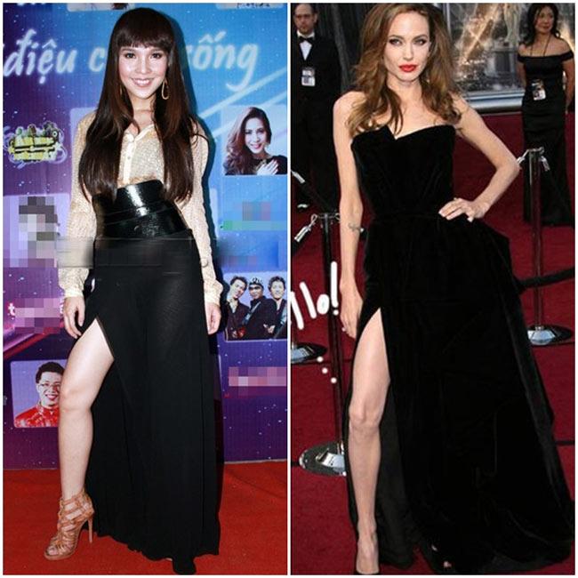 Pha tạo dáng của nữ ca sĩ Hiền Thục được so sánh với cái xoạc chân 'kinh điển' của Angelina Jolie tại lễ trao giải Oscar 2013.
