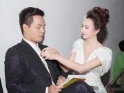 Người nổi tiếng - HH Ngọc Diễm chỉnh áo cho Phan Anh trong hậu trường
