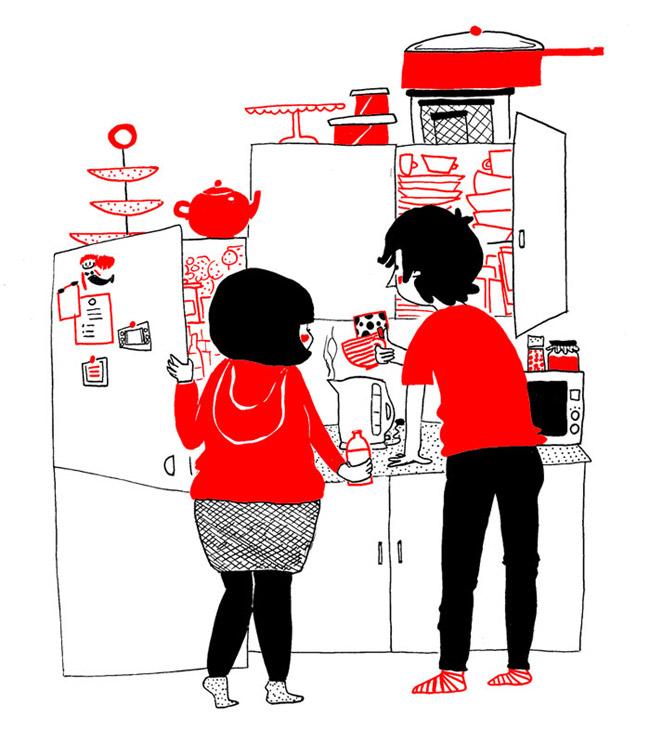 Đôi khi, tình yêu được tìm thấy trong những điều bình dị nhất, như việc cùng nhau chuẩn bị bữa sáng trong căn bếp đầy hạnh phúc.