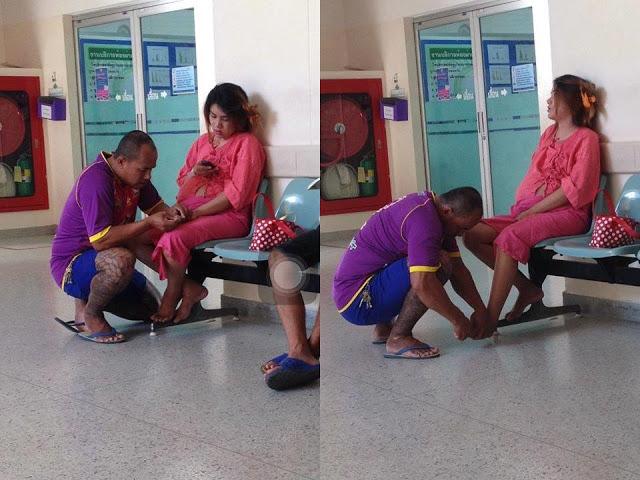 Dân mạng mê mẩn 'soái ca' cắt móng chân cho vợ bầu