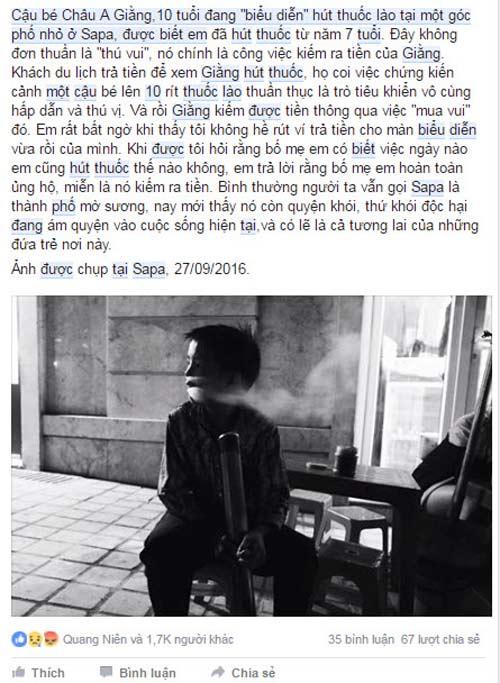 cau be 10 tuoi o sapa bieu dien hut thuoc lao nghi ngut khoi de kiem tien - 2