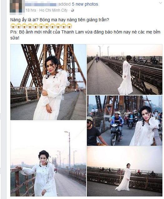 """Mạng xã hội """"nổi sóng"""" vì bộ ảnh Thanh Lam thả dáng trên cầu Long Biên - 1"""