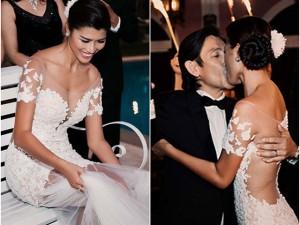 Trang Lạ hôn ông xã Việt kiều trong đám cưới lãng mạn