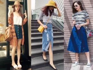 Học cách mix đồ với chân váy denim trẻ và chất như sao Việt