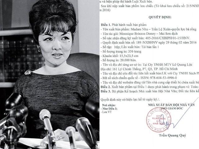 """Sách """"Madam Nhu Trần Lệ Xuân"""" bị thu hồi, đơn vị phát hành nói gì?"""