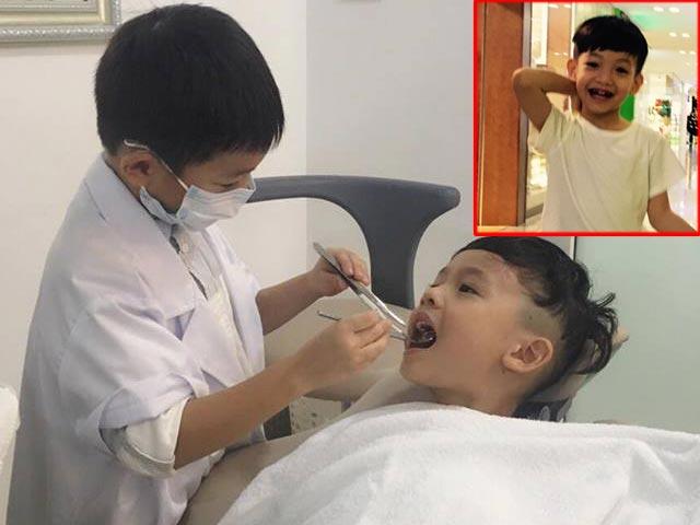 """""""Chết cười"""" với màn khám răng của con trai Hà Hồ"""