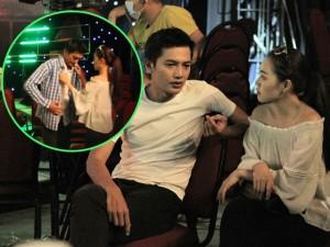 Vợ mới cưới Linh Phi tình cảm thay áo cho Quang Tuấn trong hậu trường