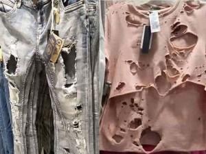 Nổi gai ốc vì loạt quần áo rách te tua ung dung trên kệ