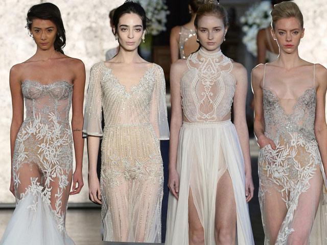 Choáng váng khi cô dâu mặc váy cưới xuyên thấu táo bạo