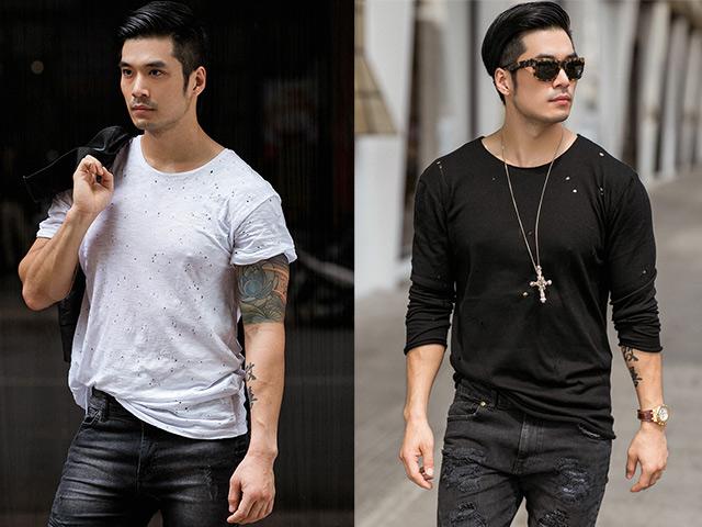 Soái ca Thiên Nguyễn cá tính với trang phục đen