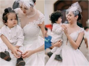 Con trai Diễm Châu tóc xoăn đáng yêu, lần đầu đi diễn cùng mẹ