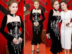 Thời trang sao Việt xấu: Ngọc Trinh bỗng già chát, sến súa vì váy nhung