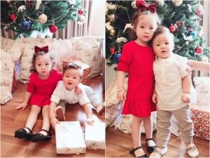 Rụng tim với vẻ đẹp thiên thần của hai con Elly Trần trong ngày Giáng sinh