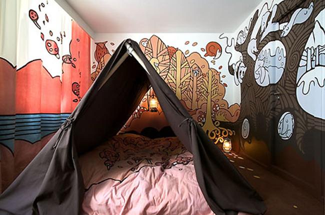 Dựng lều trong khung cảnh ngộ nghĩnh, mộng mơ.