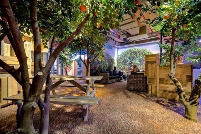Không gian lãng mạn với vườn cây xanh mát.