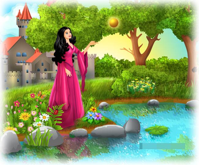 Ngày xưa ở một vương quốc nọ có một nàng công chúa rất đẹp. Nàng đẹp đến nỗi các vị vua trẻ và hoàng tử ở khắp mọi miền đều tranh giành xin hỏi cưới nhưng nàng không ưng ai. Một hôm, công chúa nhận được quả bóng vàng từ người bí mật. Nàng thích lắm!