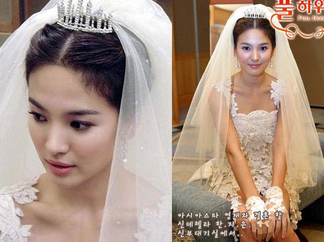 Bộ phim Full House để lại ấn tượng sâu sắc trong lòng khán giả với diễn xuất thành công của 2 diễn viên Song Hye Kyo và Bi Rain. Trong đó, phân cảnh được nhiều người chờ đợi nhất chính là hình ảnh lộng lẫy của Han Ji Eun trong ngày cưới. Vẻ đẹp trong sáng, tự nhiên của Song Hye Kyo trong bộ váy cưới ngắn trên gối với khăn đội đầu dài thướt tha khiến khán giả muốn ngắm nhìn mãi không thôi.