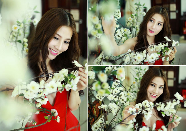 """Ngoài hoa lan, Diễm My còn trang trí thêm hoa mai trắng. Đây là loài hoa cô yêu thích nhất vì vẻ đẹp nhẹ nhàng, tinh khiết của nó.  Bài liên quan:  Căn nhà đầy hoa của diễn viên '5s online'  Thăm nhà sang trọng của Minh Hằng ngày cận Tết  """"Nàng Dae Jang Geum"""" khoe nhà riêng bí mật  Biệt thự mới ở Thanh Hóa của Trọng Tấn  Ngắm 2 ngôi nhà bạc tỷ của Uyên Thảo  Soi sâu ngó kỹ tổ ấm của Duy Mạnh"""