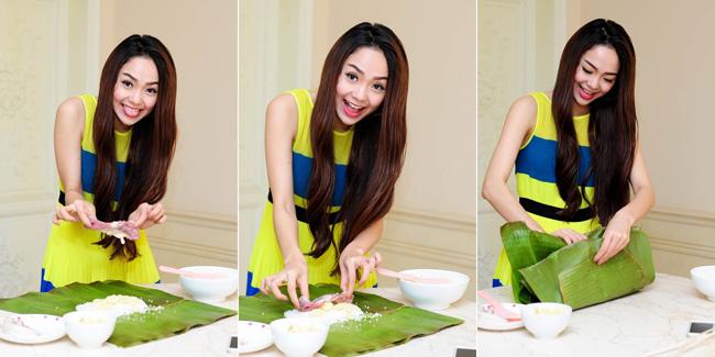 Mặc dù sống ở thành phố nhưng năm nào gia đình Minh Hằng cũng gói bánh tét để ăn Tết. Minh Hằng cũng phụ mẹ gói bánh rất khéo léo.  Minh Hằng cho hay cô thừa hưởng khả năng nấu ăn ngon từ mẹ. 'Ăn cơm mẹ nấu, lúc nào tôi cũng cảm thấy ngon miệng. Chính vì vậy tôi muốn ăn kiêng cũng khó' - nữ diễn viên thổ lộ.  Bài liên quan:  Soo Young (SNSD) làm hàng xóm Lee Min Ho  Thăm tổ ấm của danh hài Việt Hương ở Mỹ  Soi kỹ 2 căn hộ xa xỉ của Cao Thái Sơn  Cơ ngơi 'hái ra tiền' của sao Việt ở Mỹ  Ghen tị khối tài sản triệu đô của Mỹ Lệ  Soi biệt thự đắt giá của Jennifer Aniston