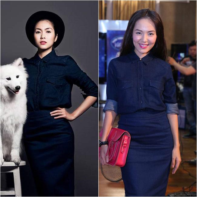 Tăng Thanh Hà và Phương Linh bất ngờ 'đụng độ' một bộ trang phục được phối y chang nhau.
