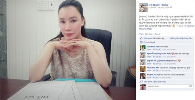 Ca sĩ Hồ Quỳnh Hương mới đây đăng bức hình cô để gương mặt mộc khi ngồi làm việc khiến các fan rất chú ý.