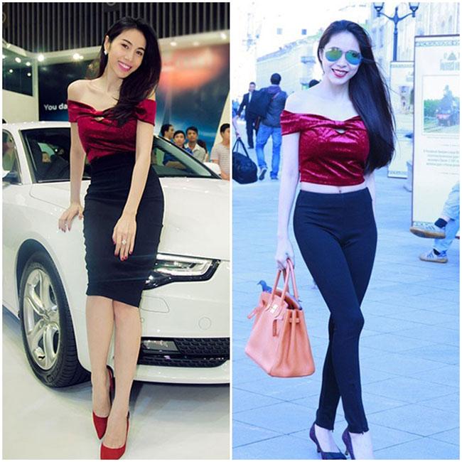 Cùng một chiếc váy trễ vai nhưng khi mặc cùng chân váy bút chì, cô có thể diện nó đi dự tiệc, khi phối cùng quần ôm, cô lại tự tin dạo phố.